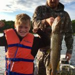 Bill Freeman of Woodstock and son, Easton, caught a pike on the Pickerel River — Easton's first fish!