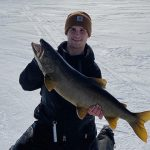 Jake Bull of Haliburton caught his first Lake Simcoe trout through the ice.