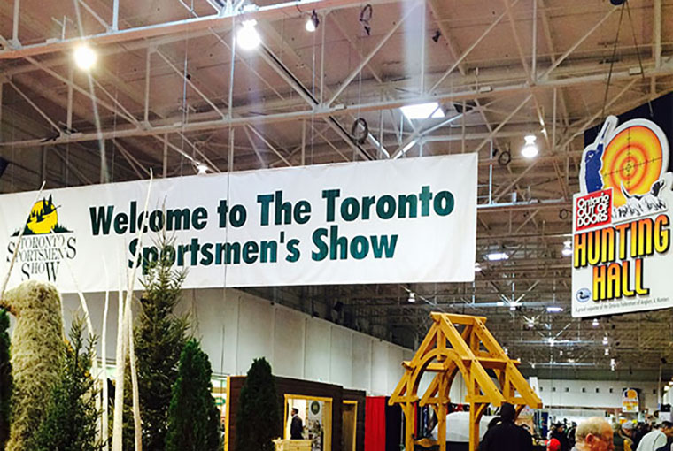 Toronto Sportsmen's Show sign in the hunting hall