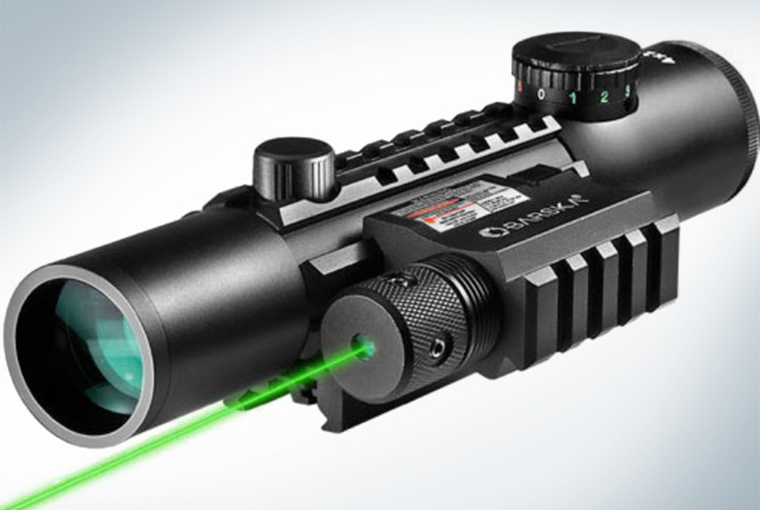 A model of a scope with a laser projecting forth