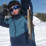 Derek Konieczny of Georgetown and son, Tristen, were ice fishing on Lake Joseph in Muskoka when Tristan caught his first-ever ever lake trout on a mini white tube jig