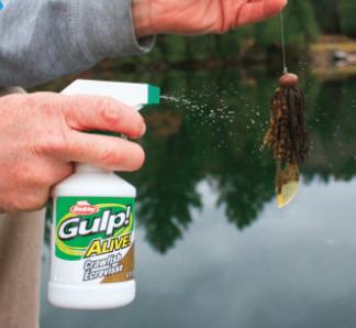 Angler spraying Gulp! Alive! on a bait