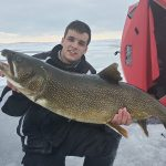 Sam Whaley of Huntsville caught and released this lake trout. Sam saw his clipped fin, figured he was a stocked trout, and the MNRF confirmed it was likely from a 1993 stocking effort.