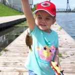 Steven Falardeau of Fonthill and daughter Grace, 3, were fishing the Welland Canal when she caught this monster rock bass.