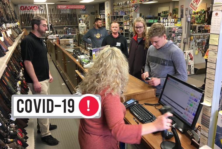 lineups at a gun and ammo store