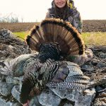 Madeleine Baker of Minden harvested a tom in full strut after watching him eliminate the competition, which included several jakes and two more toms.