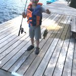 Jake Western of Vars stood back and watched his son Mason catch his first rock bass.