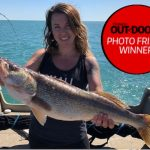 Photo Friday winner Jeremy Hiltz of Ailsa Craig captured the moment his wife, Tessa, caught this 31-inch western Lake Erie walleye on a Bomber Long A on a downrigger.