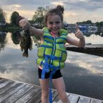 Kara Liscombe of Coboconk started the season right by catching a rock bass during an evening on the Gull River.