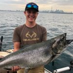 Chris Mink of Chatsworth was with Jordan Beirnes aboard Fish PedlarCharters when Jordan caught and released this 25-lb king salmon on Lake Ontario.
