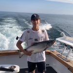 Griffen Human of Burlington caught his first chinook salmon while trolling a flash fly on Lake Ontario.