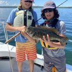 Heather Pennie of Kagawong was with fishin' cousins Jonah Balfe and Dane Gibeault when the kids pulled in this 5-lb bass in the North Channel near Mudge Bay, using a spoon.