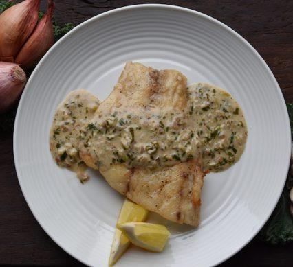 Pan-seared bass with lemon & herb butter sauce