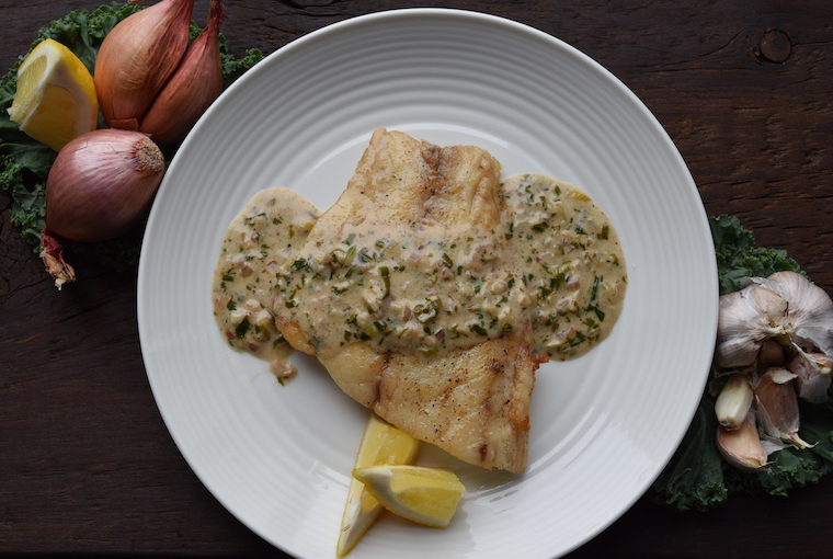 Pan-seared bass with lemon & herb butter sauce