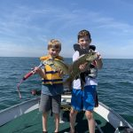 Tim Schering of Strathroy went fishing with his sons, Blake and Pierce, who caught some smallies on Mitchell's Bay using minnows and floats.