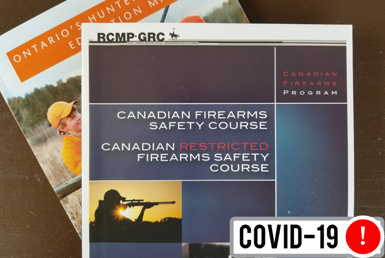Canadian Firearms Safety Course manual, sitting on a table.