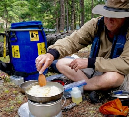 traveller sets camp for lunch