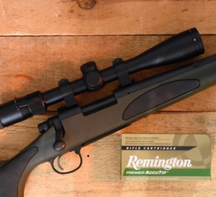 a Remington firearm with a box of ammo