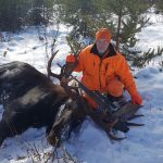 Jonas Chaylt of Englehart was proud of his dad, Joe, for harvesting this moose with a 55-inch rack near Larder Lake, on a single shot from his 280-calibre Browning A-blot at 140 yards.