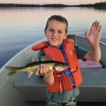 Kyle O'Malley of Port Elgin captured his son, Lucas, hooking his first walleye on Halliday Lake.