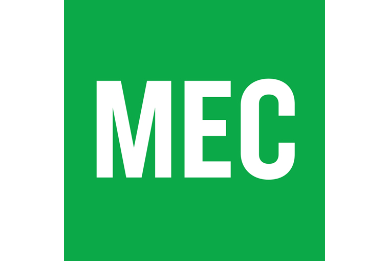 The Mountain Equipment Co-op logo, with white letters and green background