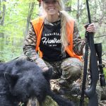 Chrissy Clement of Brockville harvested this black bear in mid-September while hunting with her husband, Matt. The bear circled the bait before coming in, which made for some exciting moments leading up to an eventual perfect broadside shot.