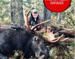 Photo Friday winner, George Clark of Thunder Bay, was successful for  the second year in a row taking a moose within the archery season in  NWO. After calling in the rain, he heard grunts, and gradually saw the  great rack approaching him through the bush, swaying back and forth.  George let the bolt fly from his crossbow at 30 yards, and rallied in  celebration with his son, Dustin, his brother Donald, and his friend  Grizz.