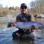 Joel Koepfler of Toronto caught his biggest steelhead of 2020 this past February from a Toronto tributary, swinging a large intruder-style fly on his 7 weight spey rod.