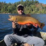 Nathan Corboy of Sault Ste. Marie had a life-long goal accomplished in reeling in this trophy male brook trout weighing 8.2-lbs.