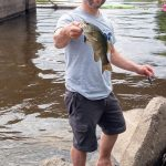 Josh Hoffman of Pembroke landed this nice smallmouth bass on the riverbank.