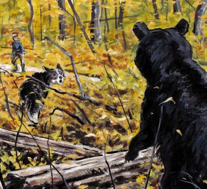 illustration man with dog encounters a bear