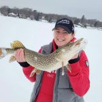 Jess Allison of Barrie presents her personal best pike caught from Lake Couchiching in Orillia.