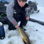 Danny Bacon of Spanish caught and released this beauty walleye on the north channel of Lake Huron using a Junction Tackle jigging spoon.