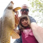 Drew and Lauren Boughton of Winterbourne were not expecting to hook into this brute when they went to their local pond for some father-daughter panfishing.