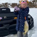 Matt Sinden-Hanson of Port Rowan submitted this photo of his three-year-old daughter, Taylor, showing off this rock bass she pulled from the pond while dad and grandpa watched with pride.
