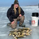 Amber Frak of Pain Court spent her first day of hardwater fishing in 2021 on Lake St. Clair with her father. While fishing in shallow water, the father-daughter pair were able to sight fish, which made it even more exciting.