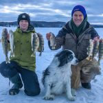Ayden Veitch of Bracebridge submitted this photo himself and his father, Cory, after their best day of fishing this past hardwater season. Kassee, their four-legged fishing companion, was surely the good luck charm that did the trick.