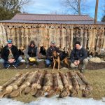 Derek Gillard of Finch submitted this photo after a great 2020/2021 season of hunting coyotes in WMU 65. Kneeling from left are Ryan Flaro; Kieth Leroux; Derek Gillard, and his dog, Bo; and Ross Grant.