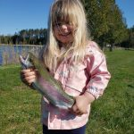 """Alex Scarchilli of Orangeville was enjoying some father-daughter fishing time when his three-year-old daughter, Gigi, hooked this rainbow using a plastic worm and her 24-inch """"Frozen"""" rod."""
