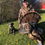 Clinton Smith of Brigden was lucky to harvest this tom on the first day of the 2021 season in Lambton County. His eight-week-old, lab, Nelly was eager to take the photo beside the 22-pound bird with one-inch spurs and a 10-inch bead.