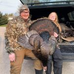 Dave Palmer of Kincardine submitted this photo of his daughter, Abigail, displaying her first turkey with pride. Despite her eagerness to tag a bird, she made the ethical decision to pass on a far-off tom the day before, but her patience clearly paid off.