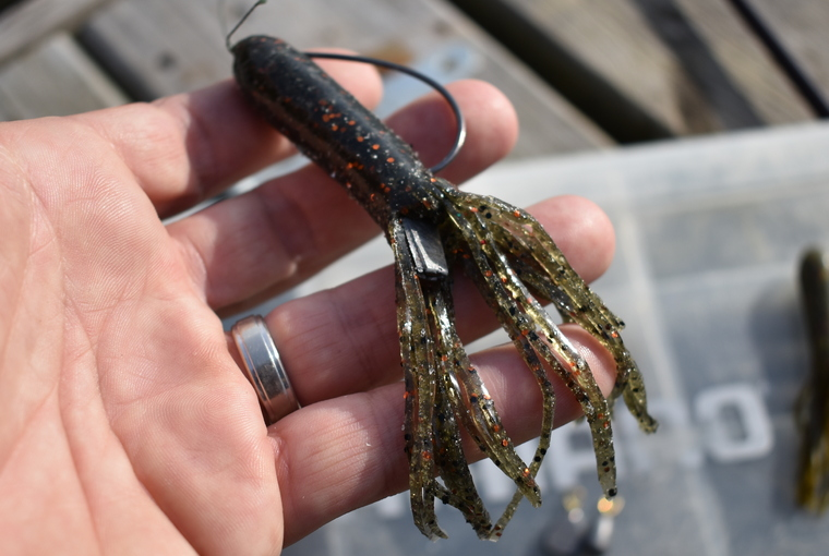 A reverse-fall Texas tube in the hands of an angler. The tube is rigged Texas-style, with an offset hook and a small weight added to the bend of the hook.