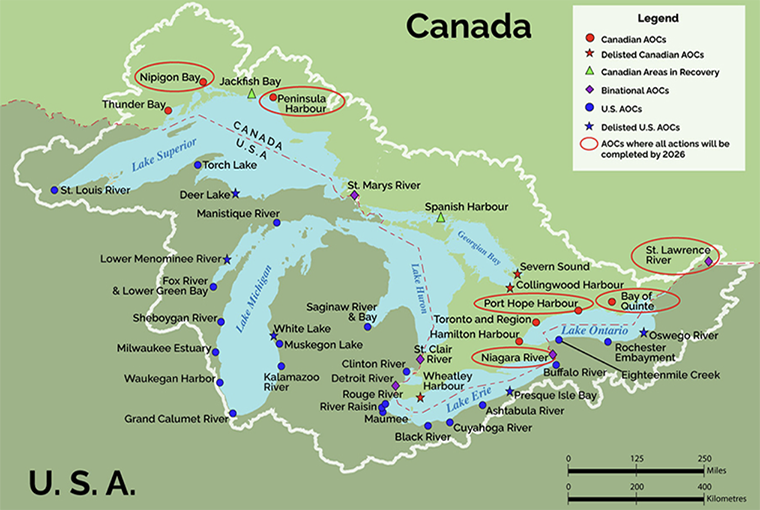 Map of Great Lakes, identifying six areas of concern