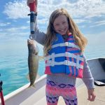 Ryan Sylvestre of Tecumseh snapped this pic of his 10-year-old daughter Ashleigh holding the first walleye she landed while jigging in the Detroit River.