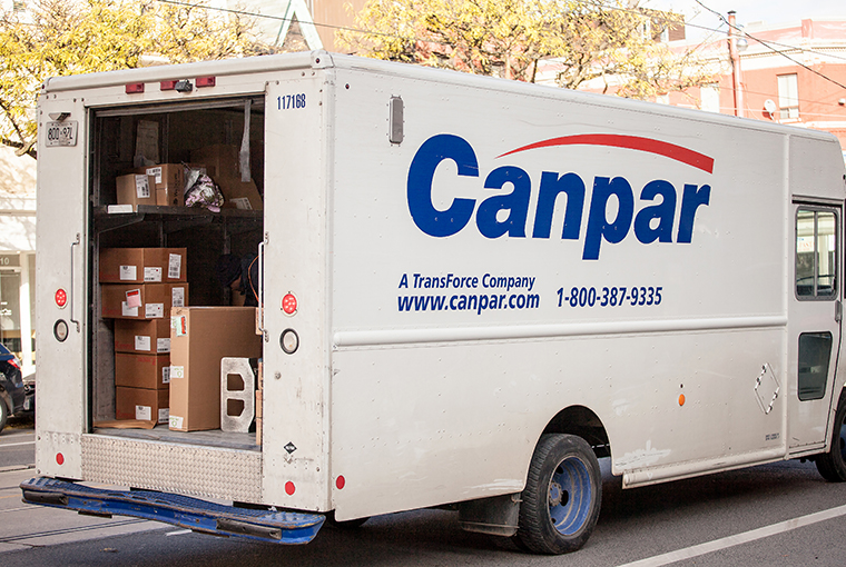 stock image of a Canpar truck