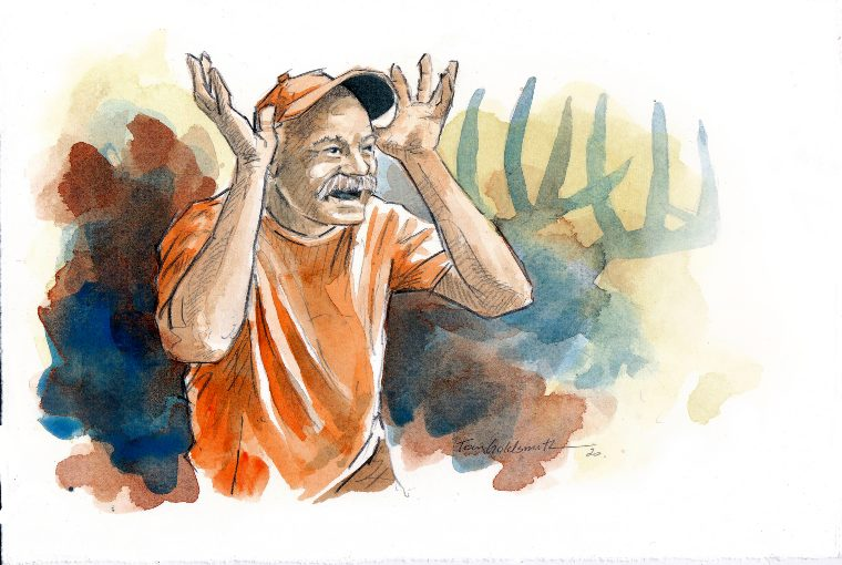 Painting of man wearing orange clothes holding his hands up with blue and red colours around him and the outline of a moose behind him.