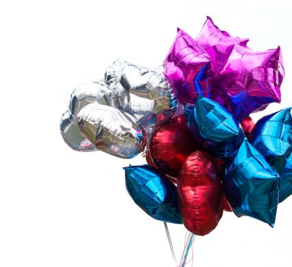 a bunch of shiny balloons