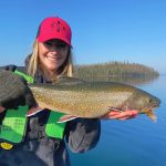 Emily Nixon of Thunder Bay landed this beauty brook trout from Lake Superior near Rossport while casting a hair jig along the shoreline.
