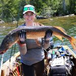 Paul Greff of Tecumseh submitted this photo of his wife Tanya Larmon after she caught a 40.5-inch northern pike in Esnagami Lake north of Nakina using eight-pound mono.