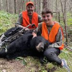 Korey Richardson of London was accompanying Lukas Richardson, 16, on a bear hunt near Hearst when Lukas harvested his first bear with a crossbow. The bear was field dressed at 189 pounds.